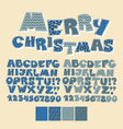 Christmas patchwork style abc font Alphabet symbol vector image vector image