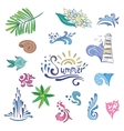 Colorful Sketch Style Summer Icons vector image vector image