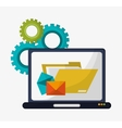 computer folder file email gears vector image