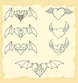 contoured valentine hearts with wings vector image vector image