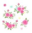 cute cartoon set roses flowers vector image vector image