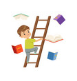 cute little boy character climbing up wooden vector image vector image