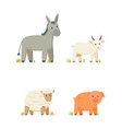 donkey and goat icons set vector image vector image