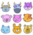 doodle of animal cute funny style for kid vector image vector image