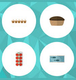 flat icon food set of tomato tin tuna tart and vector image vector image