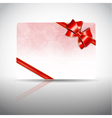 Gift card with ribbons and bow vector image vector image