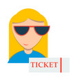 girl promo with ticket booklets vector image vector image