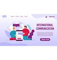 global communication service landing page design vector image