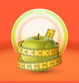 green apple yellow measuring tape dish diet vector image