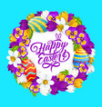 happy easter flowers wreath greeting card vector image