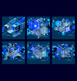 isometric abstract dark blue backgrounds set with vector image