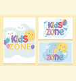 kids zone colorful sun clouds ball balloons paper vector image