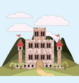 landscape with mountains and princesses castle in vector image vector image