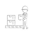 logistic delivery man character holding parcel vector image vector image