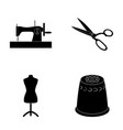 manual sewing machine scissors maniken thimble vector image