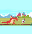 medieval cartoon scene dragon and knight warrior vector image