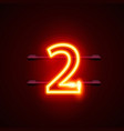 neon city font sign number 2 signboard two vector image vector image