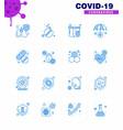 novel coronavirus 2019-ncov 16 blue icon pack vector image vector image