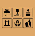 packing symbol set of icons on cardboard box vector image
