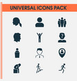 people icons set with employee speaker profile vector image
