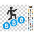 person climb bitcoins icon with bonus vector image vector image