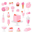 pink food pinkish cake with sweet vector image vector image