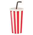 plastic cup with black straw vector image