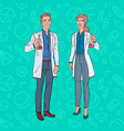 pop art man and woman scientists with flask vector image vector image