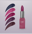 realistic lipstick with collection of strokes of vector image