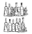 red wine set icons vector image vector image