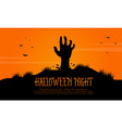 scary landscape with zombie halloween vector image vector image