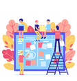 scrum task board - big agile organizer with people vector image vector image