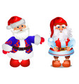 set animated santa claus in red and blue vector image