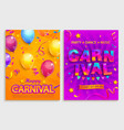 set flyers for carnival party vector image vector image