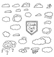 Set of Hand Drawn Doodle Clouds vector image vector image