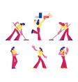 set women in life situations sportswomen vector image