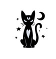 sitting black cat silhouette isolated on white vector image