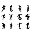 skateboarder silhouette outlines vector image vector image