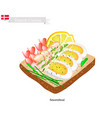 smorrebrod with shrimp the national dish of denm vector image vector image