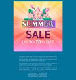summer sale up 70 off advertisement poster design vector image vector image