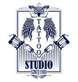 tattoo art design owl bird with tattooing vector image vector image