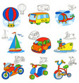 transport vehicles cartoon coloring book page vector image vector image