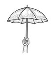 umbrella in hand sketch engraving vector image vector image