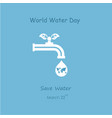water drop and water tap icon with green leaves vector image