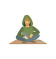 young homeless man character sitting on the street vector image vector image