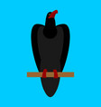 black raven isolated big bird on blue background vector image