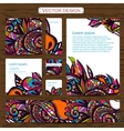 Set of 7 doddle ornamental business cards on a vector image