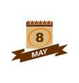 8 may calendar with ribbon vector image