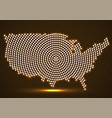 abstract usa map of glowing radial dots vector image