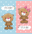 baby shower greeting card with teddy bears vector image vector image